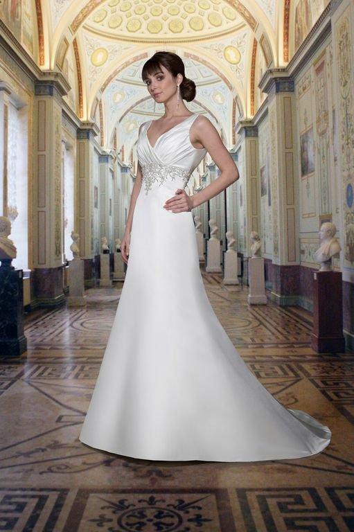 Wedding Dresses, A-line Wedding Dresses, Fashion, white, Classic, A-line, Beading, V-neck, V-neck Wedding Dresses, Satin, Sleeveless, Davinci bridal, floor length, embellished waist, Beaded Wedding Dresses, Classic Wedding Dresses, satin wedding dresses