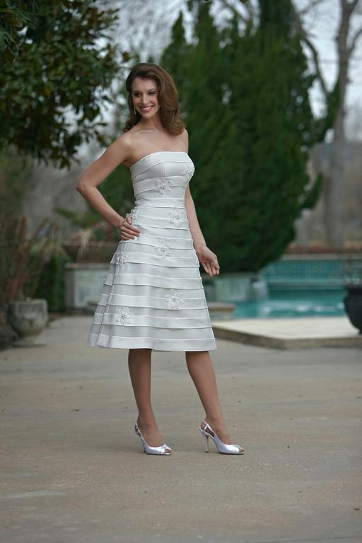 Wedding Dresses, Fashion, white, Mini, Strapless, Strapless Wedding Dresses, Tiered, Short, Horizontal, Sleeveless, Reception dress, Davinci bridal, Short Wedding Dresses