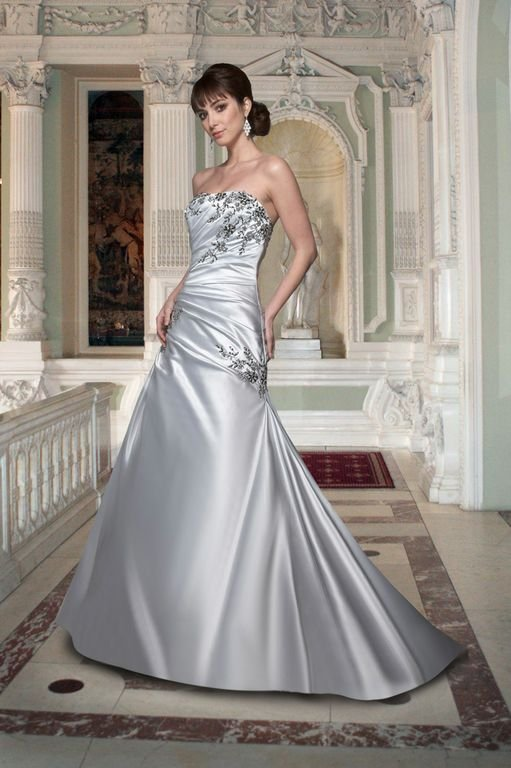 Wedding Dresses, Fashion, Strapless, Strapless Wedding Dresses, Satin, Sleeveless, Ruching, Embellished, Davinci bridal, floral detail, ruched side, satin wedding dresses