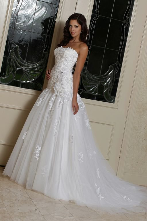 Wedding Dresses, Sweetheart Wedding Dresses, Mermaid Wedding Dresses, Lace Wedding Dresses, Romantic Wedding Dresses, Hollywood Glam Wedding Dresses, Fashion, white, ivory, Romantic, Lace, Sweetheart, Strapless, Strapless Wedding Dresses, Tulle, Floor, Formal, Dropped, Davinci bridal, Mermaid/Trumpet, Fit-n-Flare, hollywood glam, trumpet wedding dresses, tulle wedding dresses, Formal Wedding Dresses, Floor Wedding Dresses