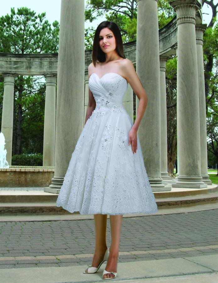 Wedding Dresses, Sweetheart Wedding Dresses, A-line Wedding Dresses, Romantic Wedding Dresses, Fashion, white, ivory, Modern, Flowers, Romantic, Sweetheart, Strapless, Strapless Wedding Dresses, A-line, Tea, Tulle, Organza, Natural, Modest, Pleats, Sleeveless, Ruching, Davinci bridal, Tea Length Wedding Dresses, Modern Wedding Dresses, organza wedding dresses, tulle wedding dresses, Flower Wedding Dresses, Modest Wedding Dresses