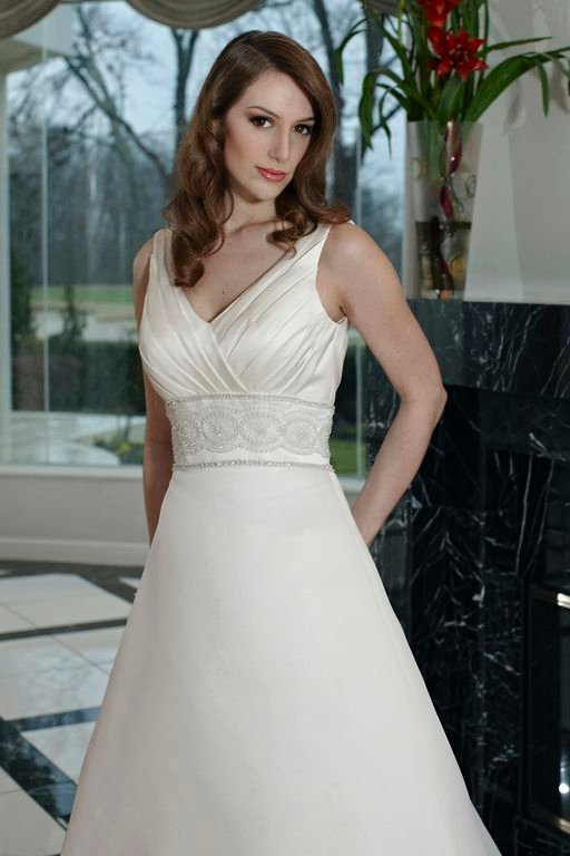 Wedding Dresses, A-line Wedding Dresses, Fashion, Classic, A-line, Beading, V-neck, V-neck Wedding Dresses, Pleats, Sleeveless, Davinci bridal, embellished waist, Beaded Wedding Dresses, Classic Wedding Dresses