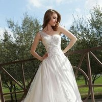 Wedding Dresses, Illusion Neckline Wedding Dresses, One-Shoulder Wedding Dresses, Ball Gown Wedding Dresses, Romantic Wedding Dresses, Fashion, white, ivory, Romantic, Tulle, Floor, Formal, Illusion, Ball gown, Davinci bridal, One-shoulder, tulle wedding dresses, Formal Wedding Dresses, Floor Wedding Dresses