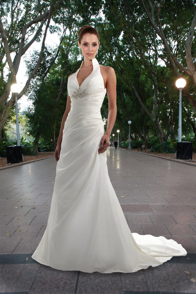 Wedding Dresses, Fashion, white, ivory, Modern, Beading, Halter, V-neck, V-neck Wedding Dresses, Sheath, Floor, Formal, Dropped, Taffeta, Modest, Sleeveless, Ruching, Davinci bridal, Modern Wedding Dresses, halter wedding dresses, Beaded Wedding Dresses, taffeta wedding dresses, Sheath Wedding Dresses, Formal Wedding Dresses, Floor Wedding Dresses, Modest Wedding Dresses