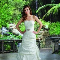 Wedding Dresses, A-line Wedding Dresses, Fashion, white, ivory, Modern, Strapless, Strapless Wedding Dresses, A-line, Beading, Floor, Formal, Natural, Scoop, Taffeta, Pick-ups, Sleeveless, Ruching, Davinci bridal, Modern Wedding Dresses, Beaded Wedding Dresses, taffeta wedding dresses, Formal Wedding Dresses, Scoop Neckline Wedding Dresses, Floor Wedding Dresses