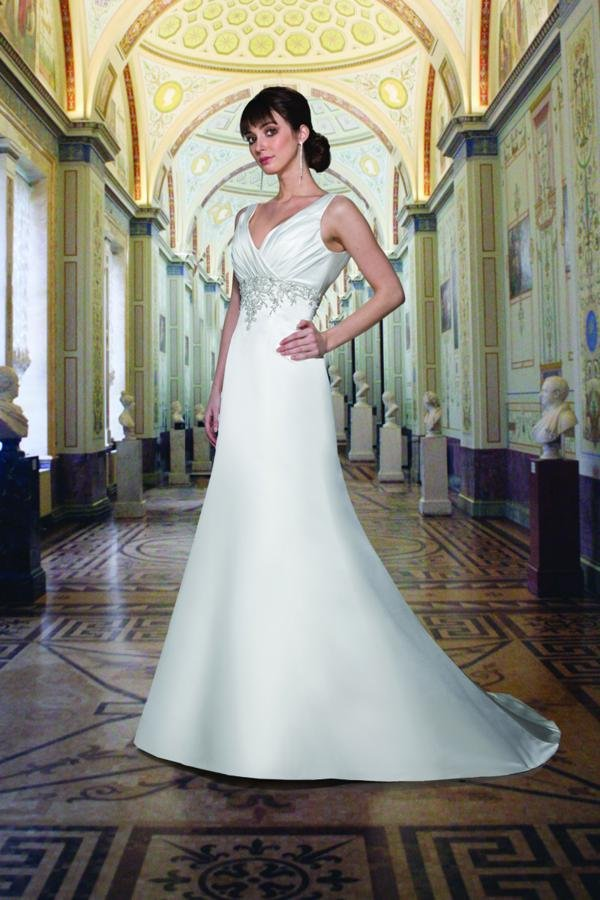 Wedding Dresses, A-line Wedding Dresses, Fashion, white, ivory, Shabby Chic, A-line, Beading, Empire, V-neck, V-neck Wedding Dresses, Satin, Floor, Formal, Modest, Sleeveless, Ruching, Davinci bridal, Sash/Belt, Beaded Wedding Dresses, satin wedding dresses, Formal Wedding Dresses, Floor Wedding Dresses, Modest Wedding Dresses, Shabby Chic Wedding Dresses, Sash Wedding Dresses, Belt Wedding Dresses