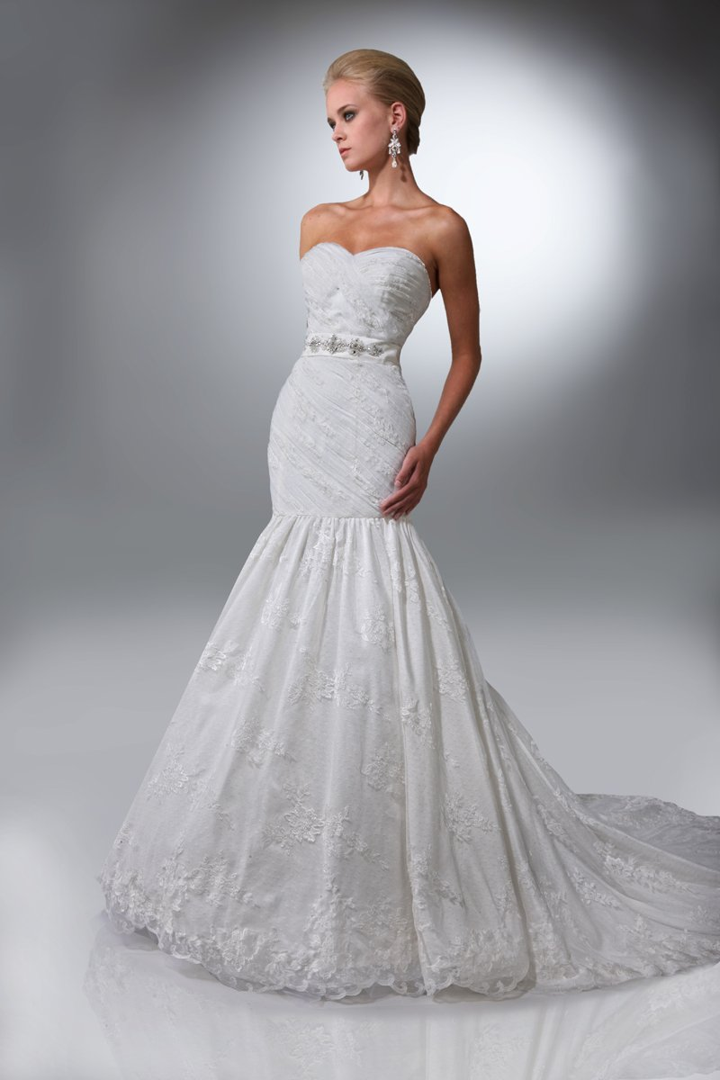 Wedding Dresses, Sweetheart Wedding Dresses, Mermaid Wedding Dresses, Lace Wedding Dresses, Fashion, white, ivory, Modern, Lace, Sweetheart, Strapless, Strapless Wedding Dresses, Beading, Floor, Formal, Dropped, Taffeta, Pleats, Sleeveless, Ruching, Davinci bridal, Mermaid/Trumpet, Sash/Belt, Fit-n-Flare, Modern Wedding Dresses, Beaded Wedding Dresses, taffeta wedding dresses, trumpet wedding dresses, Formal Wedding Dresses, Floor Wedding Dresses, Sash Wedding Dresses, Belt Wedding Dresses