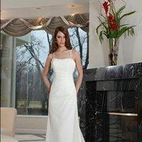 A-line Wedding Dresses, Fashion, white, Classic, A-line, Spaghetti straps, Wedding dress, Davinci bridal, square neck, Classic Wedding Dresses, Spahetti Strap Wedding Dresses