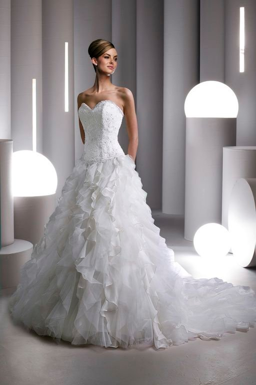 Wedding Dresses, Sweetheart Wedding Dresses, A-line Wedding Dresses, Ruffled Wedding Dresses, Romantic Wedding Dresses, Hollywood Glam Wedding Dresses, Fashion, white, ivory, Romantic, Sweetheart, Strapless, Strapless Wedding Dresses, A-line, Floor, Formal, Organza, Ruffles, Davinci bridal, hollywood glam, organza wedding dresses, Formal Wedding Dresses, Floor Wedding Dresses