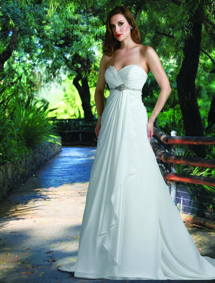 Sweetheart Wedding Dresses, A-line Wedding Dresses, Beach Wedding Dresses, Fashion, white, ivory, Beach, Boho Chic, Sweetheart, Strapless, Strapless Wedding Dresses, A-line, Beading, Empire, Floor, Chiffon, Wedding dress, Modest, Sleeveless, Ruching, Davinci bridal, Sash/Belt, Beaded Wedding Dresses, Boho Chic Wedding Dresses, Chiffon Wedding Dresses, Floor Wedding Dresses, Modest Wedding Dresses, Sash Wedding Dresses, Belt Wedding Dresses