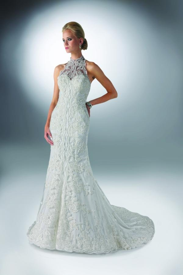 Sweetheart Wedding Dresses, Mermaid Wedding Dresses, Lace Wedding Dresses, Fashion, white, ivory, Classic, Shabby Chic, Lace, Sweetheart, Beading, Halter, Sheath, Tulle, Floor, Formal, Wedding dress, Natural, Sleeveless, Davinci bridal, high-neck, Fit-n-Flare, halter wedding dresses, Beaded Wedding Dresses, High Neck Wedding Dresses, Classic Wedding Dresses, tulle wedding dresses, Sheath Wedding Dresses, Formal Wedding Dresses, Floor Wedding Dresses, Shabby Chic Wedding Dresses