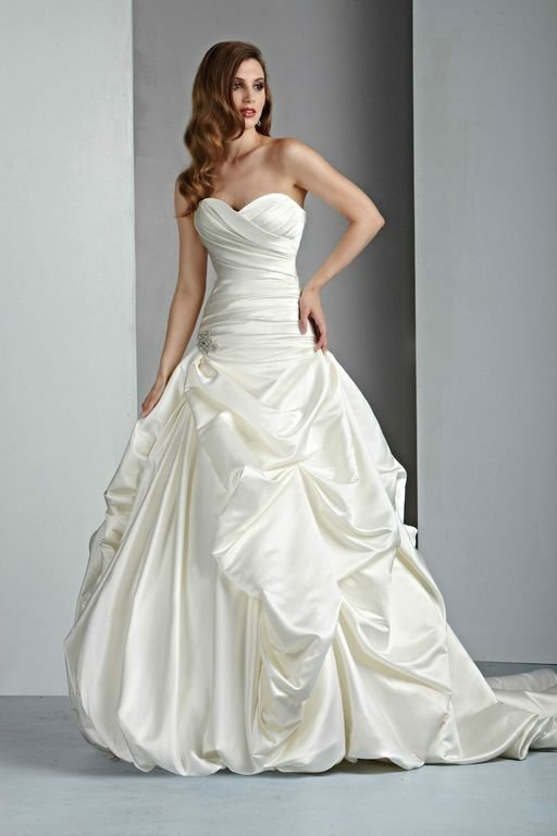 Sweetheart Wedding Dresses, A-line Wedding Dresses, Hollywood Glam Wedding Dresses, Fashion, white, ivory, Classic, Sweetheart, Strapless, Strapless Wedding Dresses, A-line, Satin, Floor, Formal, Wedding dress, Pick-ups, Davinci bridal, hollywood glam, Classic Wedding Dresses, satin wedding dresses, Formal Wedding Dresses, Floor Wedding Dresses