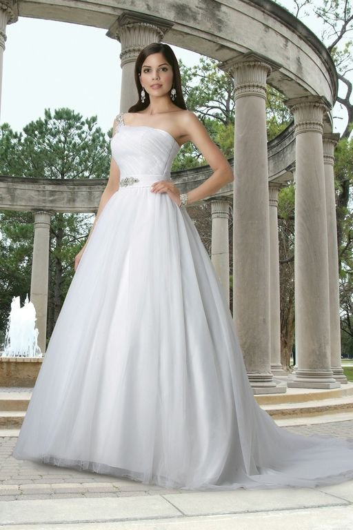 One-Shoulder Wedding Dresses, Ball Gown Wedding Dresses, Hollywood Glam Wedding Dresses, Fashion, white, ivory, Classic, Beading, Tulle, Floor, Formal, Wedding dress, Pleats, Ball gown, Davinci bridal, One-shoulder, hollywood glam, Beaded Wedding Dresses, Classic Wedding Dresses, tulle wedding dresses, Formal Wedding Dresses, Floor Wedding Dresses