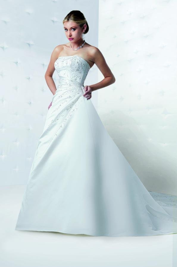 A-line Wedding Dresses, Fashion, white, ivory, Classic, Square, Strapless, Strapless Wedding Dresses, A-line, Beading, Satin, Floor, Formal, Wedding dress, Natural, Modest, Sleeveless, Ruching, Davinci bridal, Beaded Wedding Dresses, Classic Wedding Dresses, satin wedding dresses, Square Neckline Wedding Dresses, Formal Wedding Dresses, Floor Wedding Dresses, Modest Wedding Dresses