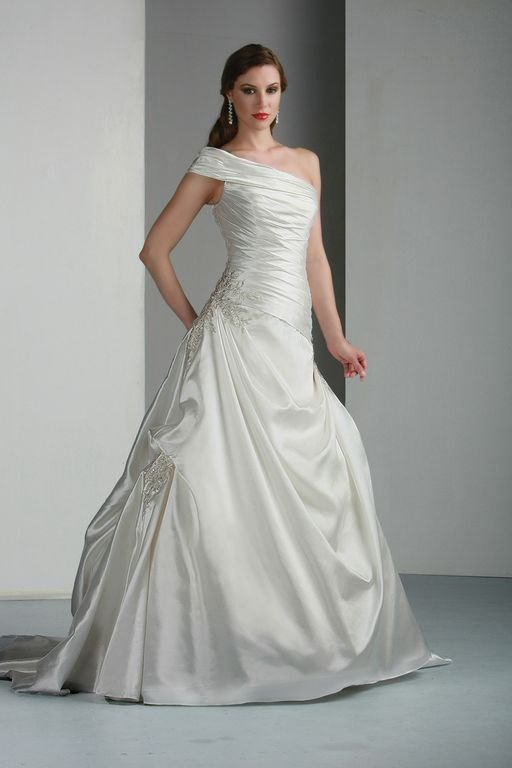 Wedding Dresses, One-Shoulder Wedding Dresses, A-line Wedding Dresses, Romantic Wedding Dresses, Hollywood Glam Wedding Dresses, Fashion, white, ivory, Rustic, Modern, Classic, Romantic, A-line, Formal, Organza, Taffeta, Pleats, One-shoulder, hollywood glam, short sleeve, Modern Wedding Dresses, rustic wedding dresses, organza wedding dresses, taffeta wedding dresses, Classic Wedding Dresses, Formal Wedding Dresses