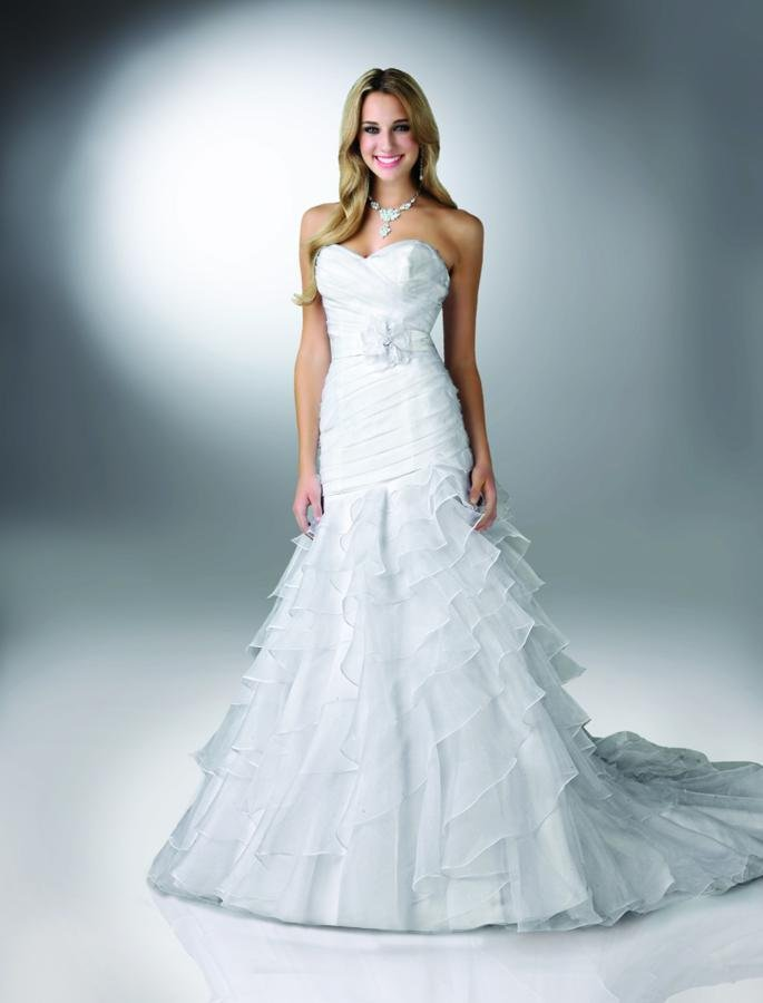 Sweetheart Wedding Dresses, Mermaid Wedding Dresses, Ruffled Wedding Dresses, Romantic Wedding Dresses, Fashion, white, Modern, Flowers, Romantic, Sweetheart, Strapless, Strapless Wedding Dresses, Satin, Wedding dress, Organza, Ruffles, Tiers, Dropped, Sleeveless, Ruching, Davinci bridal, Mermaid/Trumpet, Sash/Belt, Fit-n-Flare, Modern Wedding Dresses, organza wedding dresses, trumpet wedding dresses, satin wedding dresses, Flower Wedding Dresses, Sash Wedding Dresses, Belt Wedding Dresses, Tiered Wedding Dresses