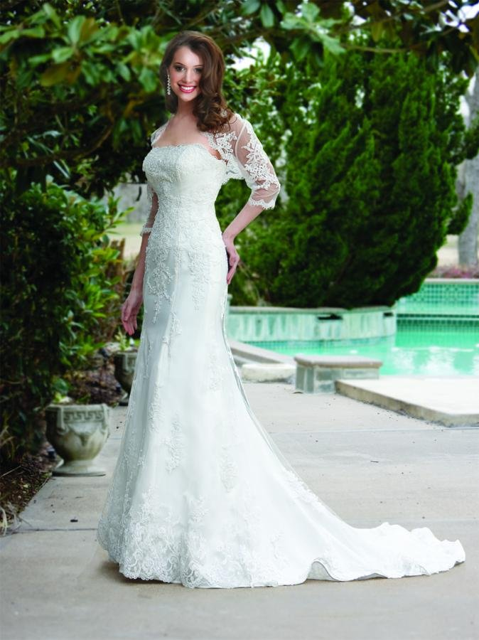 Wedding Dresses, Mermaid Wedding Dresses, Lace Wedding Dresses, Vintage Wedding Dresses, Fashion, white, ivory, Vintage, Square, Lace, Strapless, Strapless Wedding Dresses, Tulle, Floor, Formal, Natural, Modest, Davinci bridal, Fit-n-Flare, 3/4 sleeve, tulle wedding dresses, Square Neckline Wedding Dresses, Formal Wedding Dresses, Floor Wedding Dresses, Modest Wedding Dresses