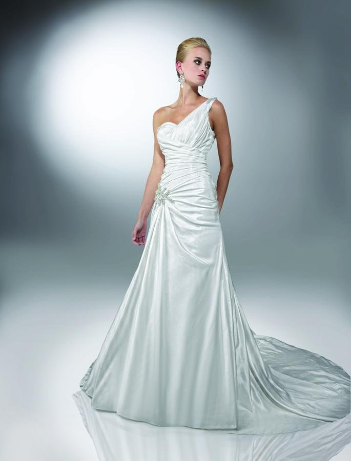 Wedding Dresses, Sweetheart Wedding Dresses, One-Shoulder Wedding Dresses, A-line Wedding Dresses, Fashion, white, ivory, Modern, Sweetheart, A-line, Beading, Floor, Formal, Dropped, Taffeta, Modest, Pleats, Sleeveless, Ruching, Davinci bridal, One-shoulder, Modern Wedding Dresses, Beaded Wedding Dresses, taffeta wedding dresses, Formal Wedding Dresses, Floor Wedding Dresses, Modest Wedding Dresses