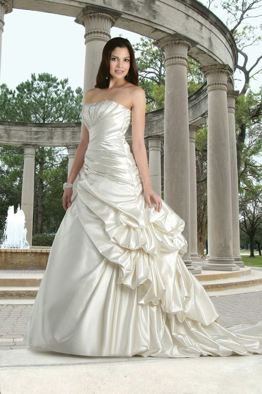 Wedding Dresses, A-line Wedding Dresses, Hollywood Glam Wedding Dresses, Fashion, white, ivory, Classic, Strapless, Strapless Wedding Dresses, A-line, Beading, Satin, Floor, Formal, Pleats, Pick-ups, Davinci bridal, hollywood glam, Beaded Wedding Dresses, Classic Wedding Dresses, satin wedding dresses, Formal Wedding Dresses, Floor Wedding Dresses