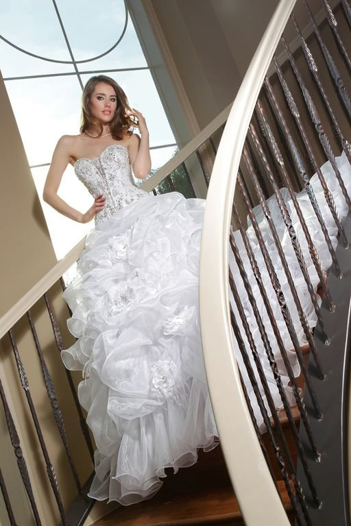 Wedding Dresses, Sweetheart Wedding Dresses, Ball Gown Wedding Dresses, Hollywood Glam Wedding Dresses, Fashion, white, ivory, Flowers, Sweetheart, Beading, Floor, Formal, Organza, Pick-ups, Ball gown, Davinci bridal, hollywood glam, Beaded Wedding Dresses, organza wedding dresses, Flower Wedding Dresses, Formal Wedding Dresses, Floor Wedding Dresses