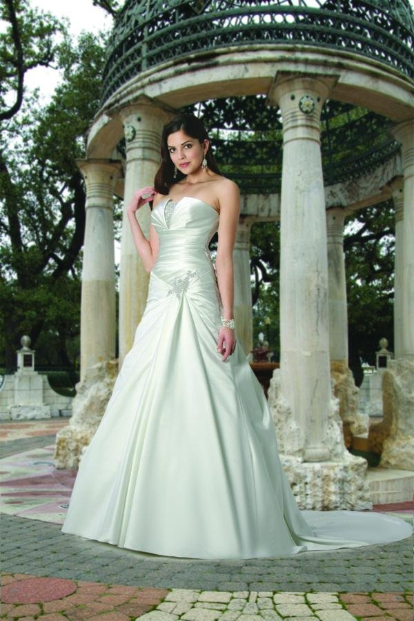 Wedding Dresses, A-line Wedding Dresses, Romantic Wedding Dresses, Fashion, white, ivory, Modern, Romantic, Strapless, Strapless Wedding Dresses, A-line, Beading, Satin, Floor, Formal, Dropped, Sleeveless, Ruching, Davinci bridal, Modern Wedding Dresses, Beaded Wedding Dresses, satin wedding dresses, Formal Wedding Dresses, Floor Wedding Dresses