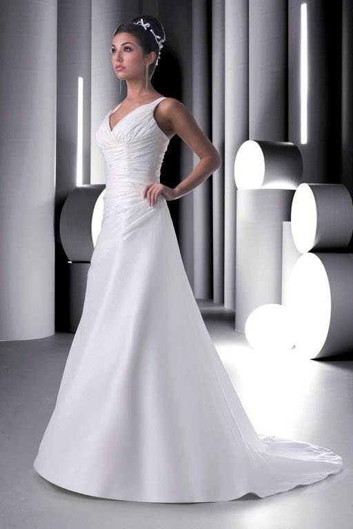 Wedding Dresses, A-line Wedding Dresses, Fashion, white, ivory, Classic, A-line, V-neck, V-neck Wedding Dresses, Floor, Taffeta, Modest, Pleats, Ruching, Davinci bridal, taffeta wedding dresses, Classic Wedding Dresses, Floor Wedding Dresses, Modest Wedding Dresses