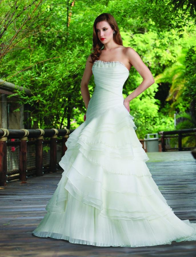 Wedding Dresses, Sweetheart Wedding Dresses, A-line Wedding Dresses, Ruffled Wedding Dresses, Fashion, white, ivory, Modern, Sweetheart, Strapless, Strapless Wedding Dresses, A-line, Floor, Formal, Organza, Natural, Ruffles, Tiers, Pleats, Sleeveless, Ruching, Davinci bridal, Modern Wedding Dresses, organza wedding dresses, Formal Wedding Dresses, Floor Wedding Dresses, Tiered Wedding Dresses