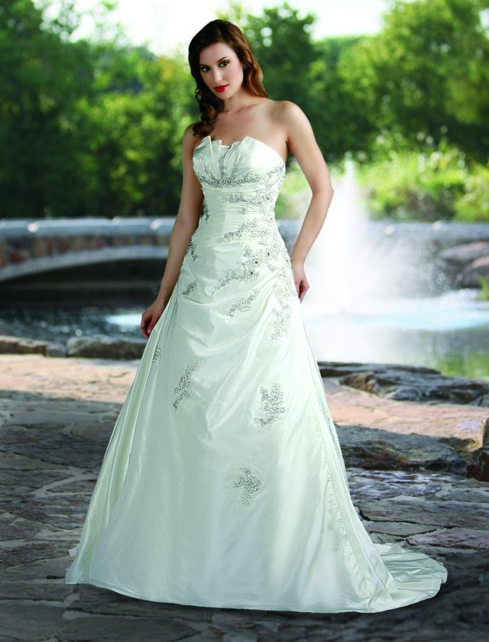Wedding Dresses, A-line Wedding Dresses, Fashion, white, ivory, silver, Modern, Flowers, Strapless, Strapless Wedding Dresses, A-line, Beading, Floor, Formal, Natural, Taffeta, Pleats, Sleeveless, Davinci bridal, Modern Wedding Dresses, Beaded Wedding Dresses, taffeta wedding dresses, Flower Wedding Dresses, Formal Wedding Dresses, Floor Wedding Dresses