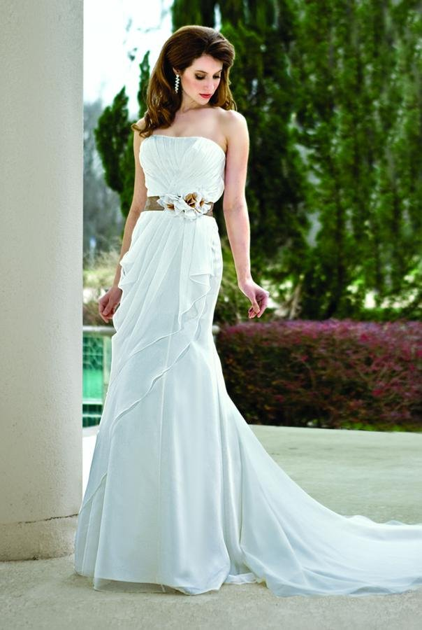 Wedding Dresses, Ruffled Wedding Dresses, Romantic Wedding Dresses, Fashion, white, ivory, brown, Modern, Square, Flowers, Romantic, Strapless, Strapless Wedding Dresses, Empire, Sheath, Floor, Formal, Organza, Ruffles, Sleeveless, Ruching, Davinci bridal, Sash/Belt, Modern Wedding Dresses, organza wedding dresses, Flower Wedding Dresses, Sheath Wedding Dresses, Square Neckline Wedding Dresses, Formal Wedding Dresses, Floor Wedding Dresses, Sash Wedding Dresses, Belt Wedding Dresses