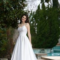 Wedding Dresses, Sweetheart Wedding Dresses, A-line Wedding Dresses, Fashion, white, ivory, Sweetheart, A-line, Spaghetti straps, Empire, Satin, Floor, Formal, Modest, Pleats, Sleeveless, Ruching, Davinci bridal, satin wedding dresses, Spahetti Strap Wedding Dresses, Formal Wedding Dresses, Floor Wedding Dresses, Modest Wedding Dresses