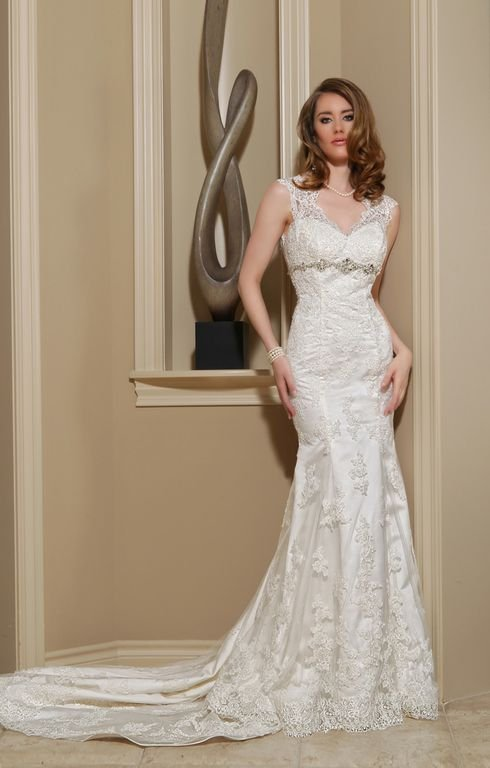 Wedding Dresses, Mermaid Wedding Dresses, Lace Wedding Dresses, Romantic Wedding Dresses, Vintage Wedding Dresses, Fashion, white, ivory, Vintage, Rustic, Shabby Chic, Romantic, Lace, Beading, Tulle, Floor, Davinci bridal, Mermaid/Trumpet, Fit-n-Flare, short sleeve, Queen Anne, rustic wedding dresses, Beaded Wedding Dresses, trumpet wedding dresses, tulle wedding dresses, Floor Wedding Dresses, Shabby Chic Wedding Dresses, Queen Anne Wedding Dresses