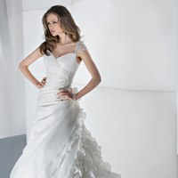 Wedding Dresses, Fashion, Beading, Demetrios, Ruching, Ruffled, Attached Train, Beaded Wedding Dresses