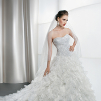 Wedding Dresses, Sweetheart Wedding Dresses, A-line Wedding Dresses, Fashion, Sweetheart, Strapless, Strapless Wedding Dresses, A-line, Tulle, Demetrios, Ruffled, basque waist, Attached Train, tulle wedding dresses
