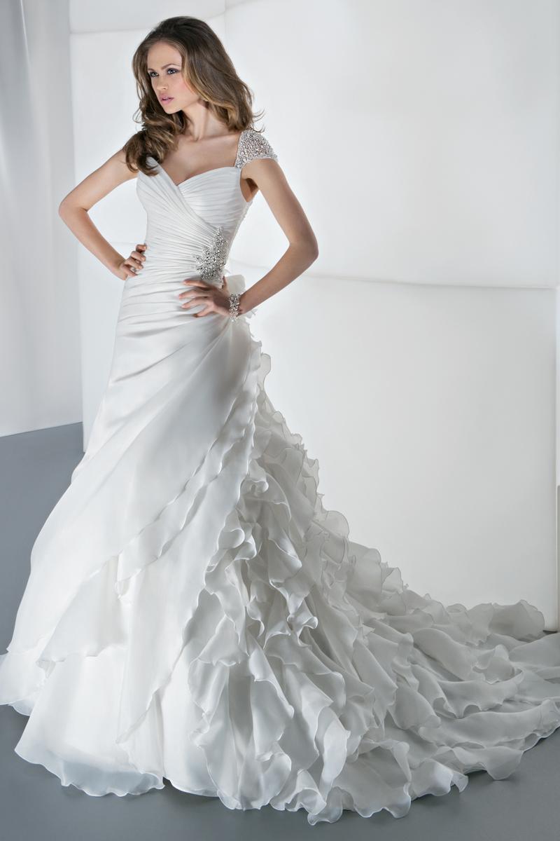 Wedding Dresses, Fashion, Beading, Demetrios, Ruching, Ruffled, Attached Train, Beaded Wedding Dresses