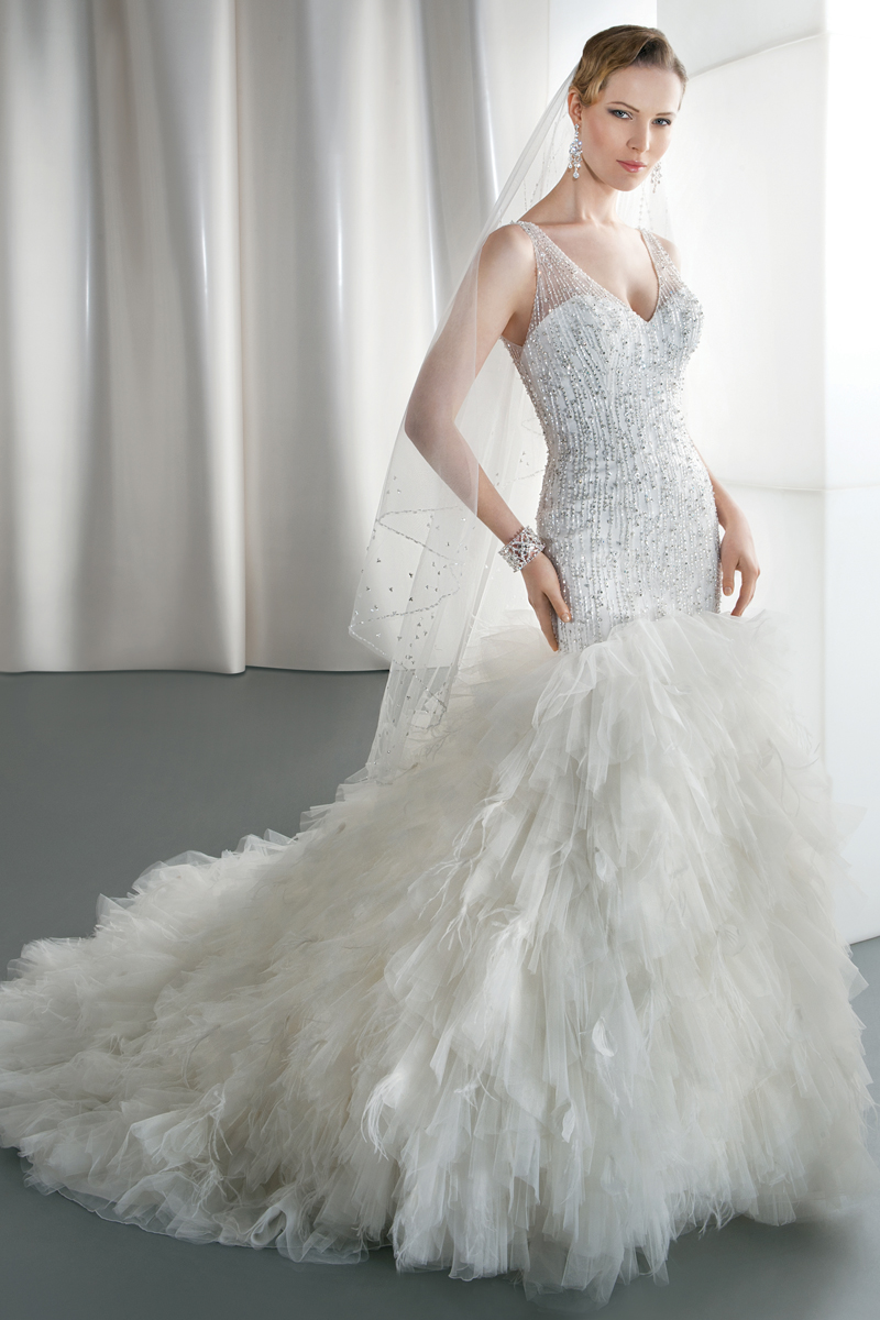 Wedding Dresses, Fashion, Tulle, Demetrios, Beaded, Ruffled, Attached Train, V-neckline, v-back, tulle wedding dresses