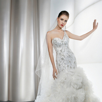 Wedding Dresses, One-Shoulder Wedding Dresses, Fashion, Beading, Tulle, Demetrios, Embellished, Ruffled, One-shoulder, Attached Train, Beaded Wedding Dresses, tulle wedding dresses
