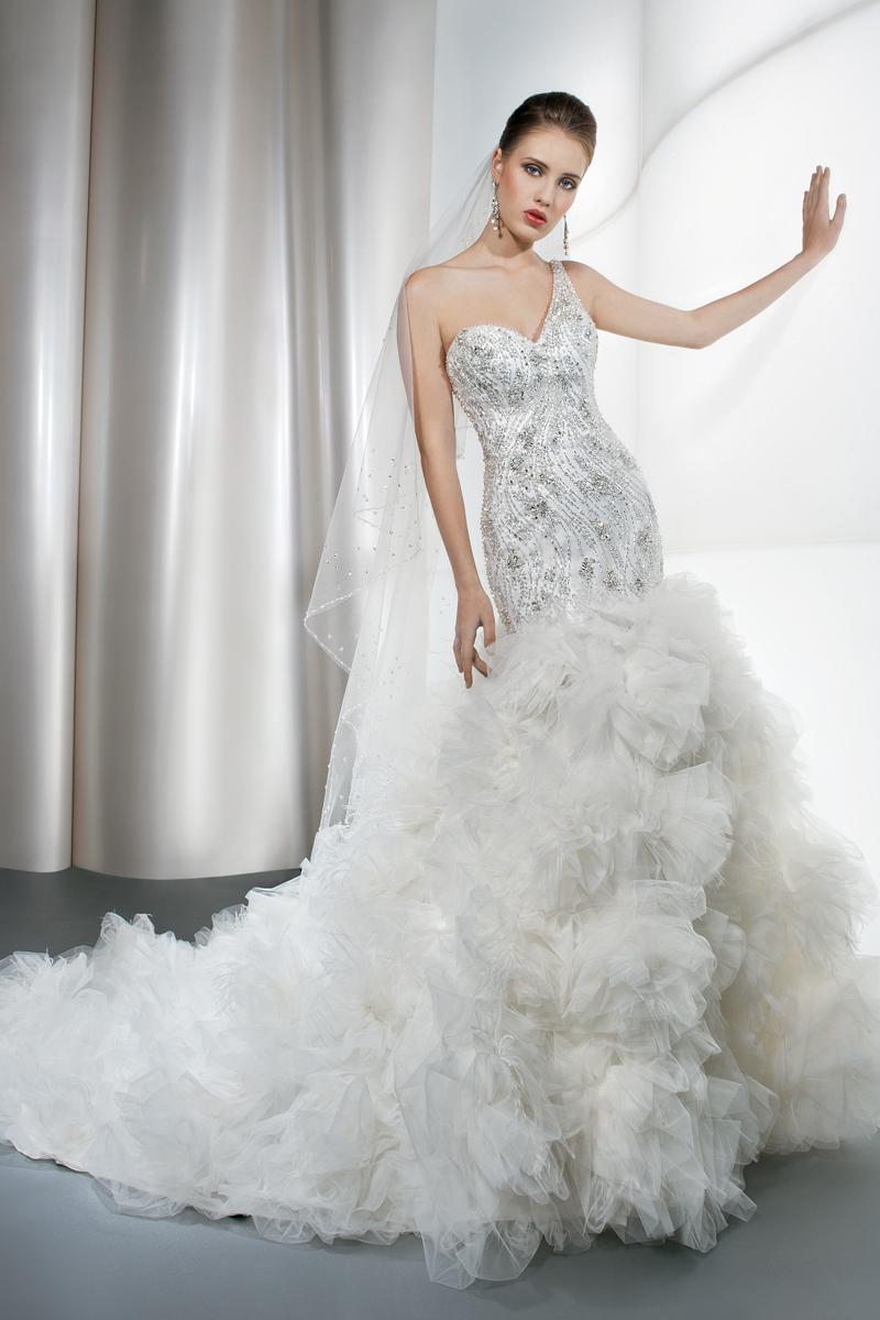 Wedding Dresses, One-Shoulder Wedding Dresses, Fashion, Beading, Tulle, Demetrios, Embellished, Ruffled, One-shoulder, Attached Train, Beaded Wedding Dresses, tulle wedding dresses