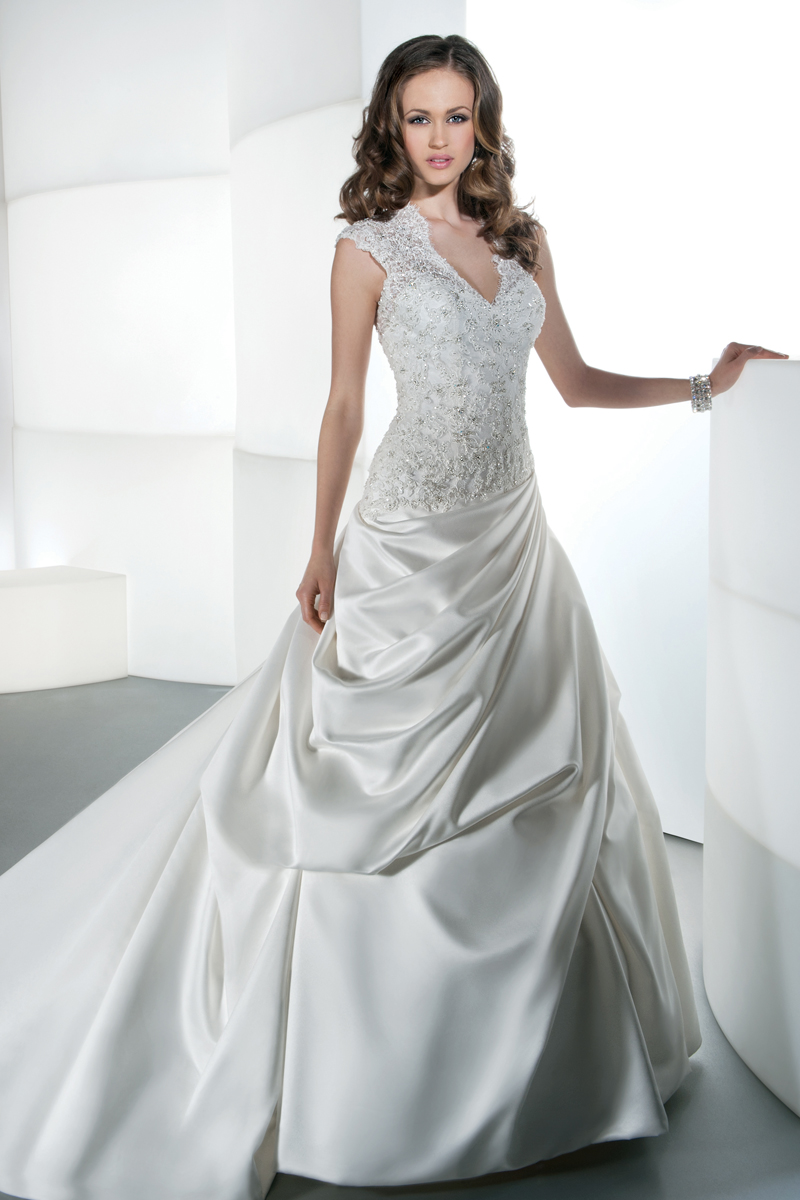 Wedding Dresses, A-line Wedding Dresses, Fashion, Strapless, Strapless Wedding Dresses, A-line, Beading, Satin, Demetrios, Ruching, Embellished, Attached Train, Corset back, Attached belt, pleated side drape, Beaded Wedding Dresses, satin wedding dresses