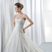 Wedding Dresses, A-line Wedding Dresses, Fashion, Strapless, Strapless Wedding Dresses, A-line, Beading, Demetrios, pleating, Beaded bodice, Attached Train, Jeweling, Corset back, Beaded Wedding Dresses