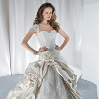 Wedding Dresses, Ball Gown Wedding Dresses, Lace Wedding Dresses, Fashion, Flowers, Lace, Cap sleeves, Tulle, Satin, Demetrios, Beaded, Bodice, Ball gown, Keyhole back, pleating, Attached Train, Bustled skirt, Bustled back, bubbled hem, tulle wedding dresses, satin wedding dresses, Flower Wedding Dresses