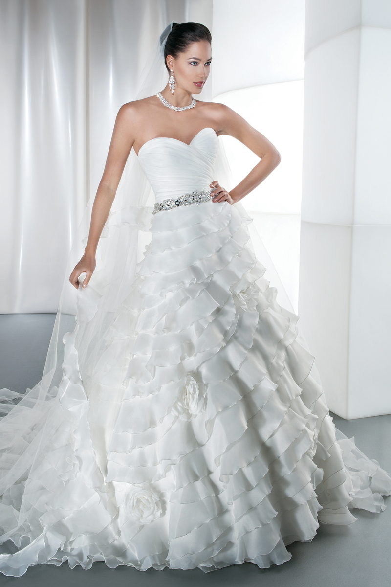 Wedding Dresses, Fashion, Satin, Demetrios, Organza, Beaded, Ruched, Ruffled, wrapped bodice, Attached Train, V-neckline, Criss-cross back, Jeweled straps, organza wedding dresses, satin wedding dresses