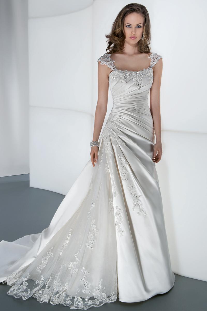 Wedding Dresses, A-line Wedding Dresses, Fashion, A-line, Satin, Demetrios, Organza, Ruched, Attached Train, wrap bodice, organza wedding dresses, satin wedding dresses