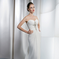 Wedding Dresses, Sweetheart Wedding Dresses, Fashion, Sweetheart, Strapless, Strapless Wedding Dresses, Buttons, Chiffon, Demetrios, Beaded, Ruching, embellished bodice, Attached Train, Jeweling, Asymmetrical ruching, draped skirt, Chiffon Wedding Dresses