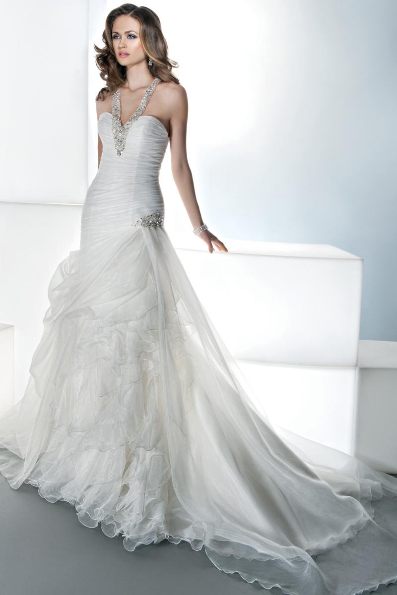 Wedding Dresses, A-line Wedding Dresses, Fashion, A-line, V-neck, V-neck Wedding Dresses, Asymmetrical, Satin, Demetrios, Organza, Bodice, Sleeveless, Ruching, organza wedding dresses, satin wedding dresses