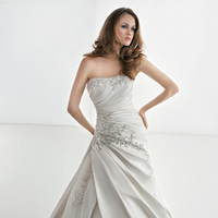 Wedding Dresses, Romantic Wedding Dresses, Fashion, Romantic, Beading, Demetrios, Ruching, Embellished, Strappless, Attached Train, Beaded Wedding Dresses