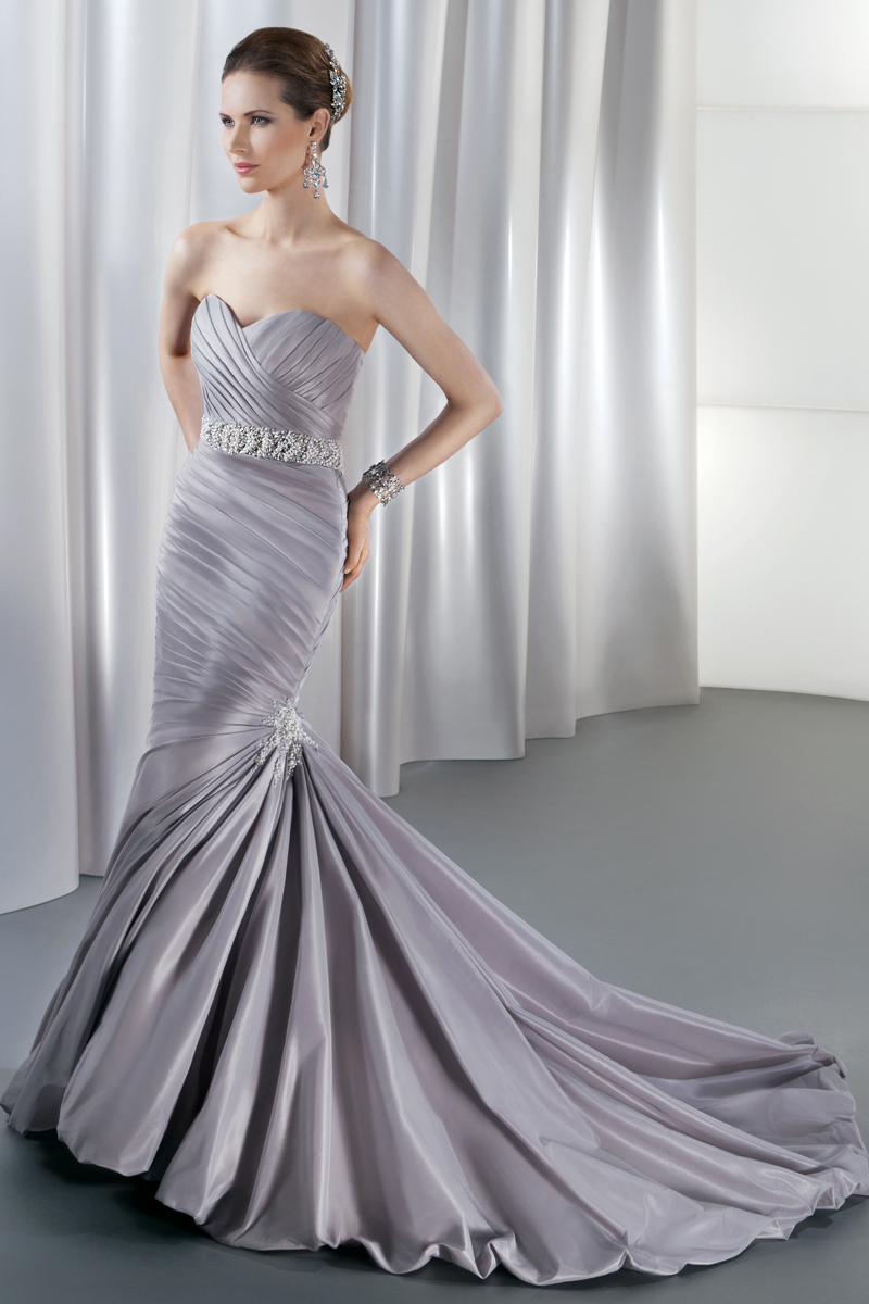 Wedding Dresses, Fashion, purple, Strapless, Strapless Wedding Dresses, Demetrios, Jeweled belt, Taffeta, pleated skirt, Attached Train, Corset back, Asymmetrical ruching, bubble hem, taffeta wedding dresses