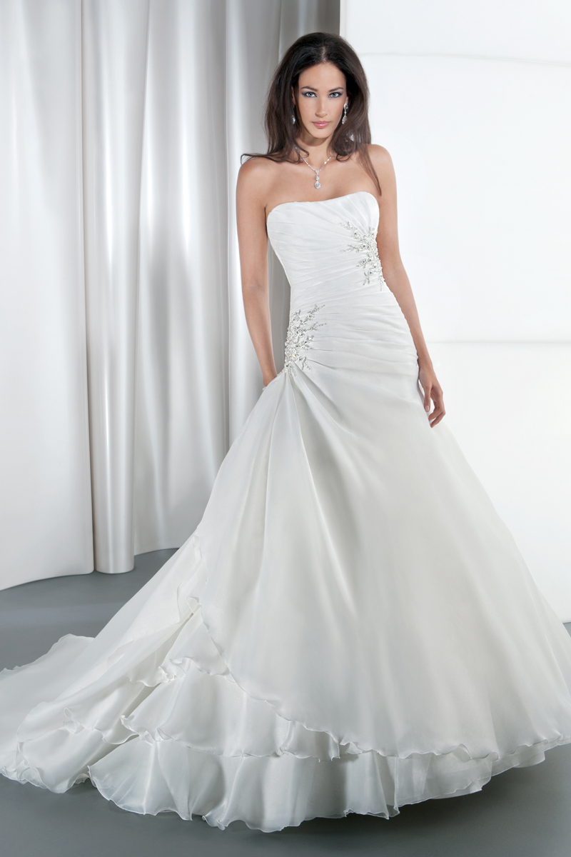 Wedding Dresses, Sweetheart Wedding Dresses, A-line Wedding Dresses, Fashion, Sweetheart, Strapless, Strapless Wedding Dresses, A-line, Satin, Demetrios, Organza, Crystals, Beaded, Embellished, Attached Train, wrap bodice, Asymmetrical ruching, side draping, organza wedding dresses, satin wedding dresses