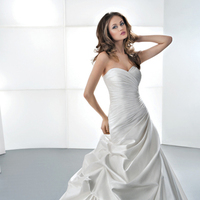 Wedding Dresses, Sweetheart Wedding Dresses, Fashion, Sweetheart, Strapless, Strapless Wedding Dresses, Satin, Demetrios, Taffeta, Ruched, Attached Train, Corset back, Bustled skirt, taffeta wedding dresses, satin wedding dresses