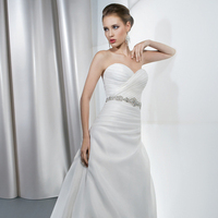 Wedding Dresses, Sweetheart Wedding Dresses, A-line Wedding Dresses, Fashion, Sweetheart, Strapless, Strapless Wedding Dresses, A-line, Satin, Demetrios, Organza, Jeweled, Bodice, Attached Train, Corset back, Asymmetrical ruching, side pleat, organza wedding dresses, satin wedding dresses