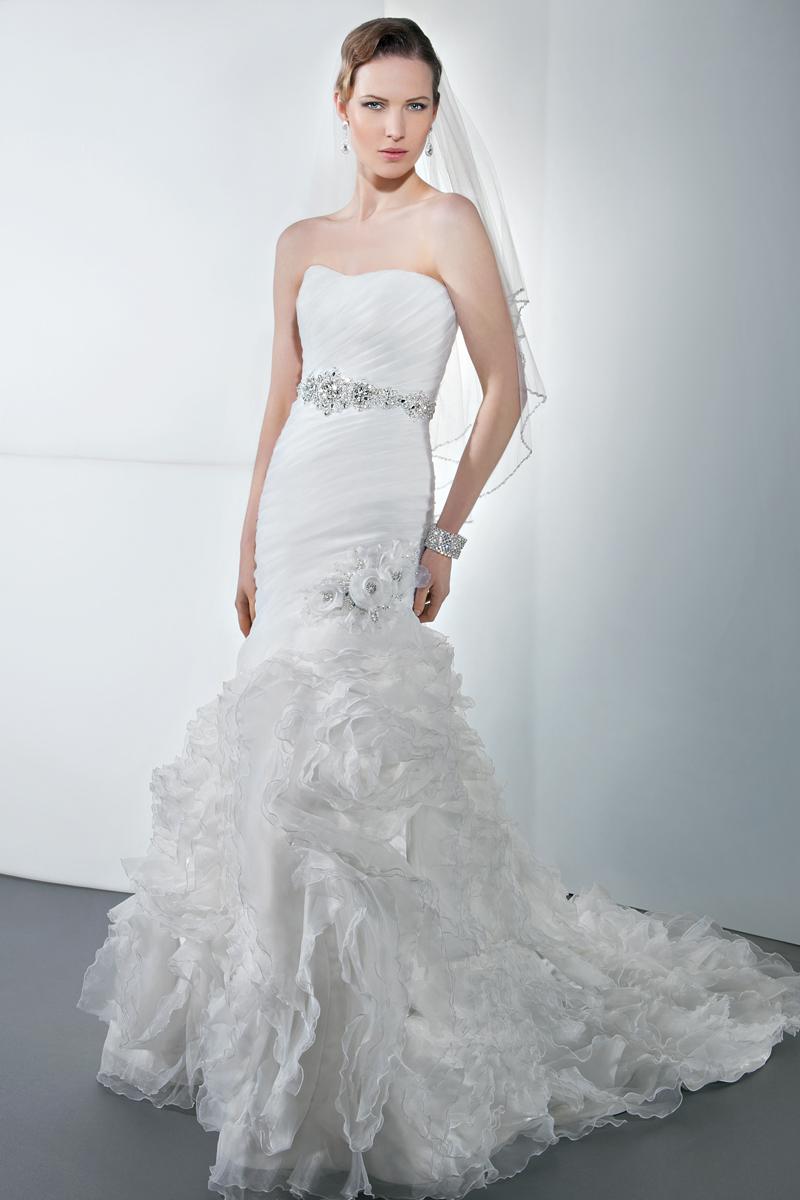 Wedding Dresses, Fashion, Flowers, Strapless, Strapless Wedding Dresses, Demetrios, Jeweled belt, Attached Train, Jewel encrusted, Asymmetrical ruching, floral motif, Flower Wedding Dresses